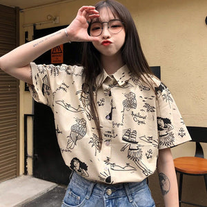 Beach Theme Pattern Short Sleeve Blouse Shirt