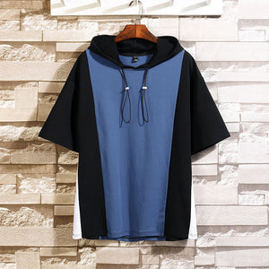 Oversized Hip Hop Patchwork Hooded Shirt