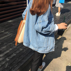 Retro Solid Denim Jacket Loose Turn Down Collar Pockets
