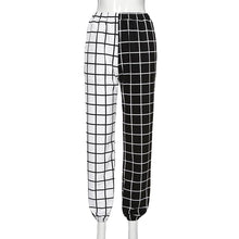 Load image into Gallery viewer, Half Plaid Color Jogger Pants