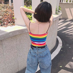 Rainbow Stripes Sexy Camisole Tank Top