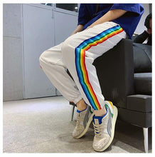 Load image into Gallery viewer, Bad Boy Letter Printed Rainbow Striped Casual Pants