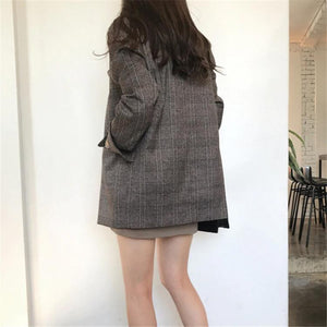 Plaid Blazers Double Breasted Pocket