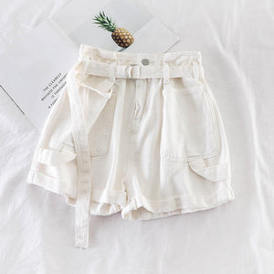 Wide Leg Shorts With Belt Hotpants Jeans