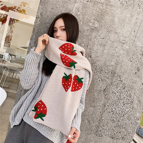 Strawberry Embroidered Winter Scarf