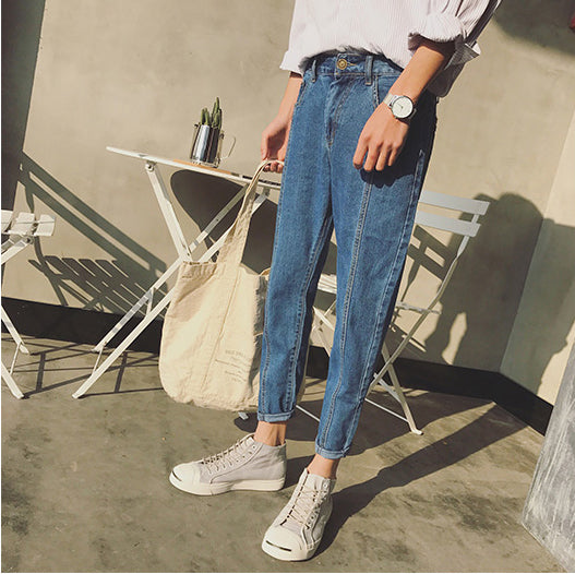 Elastic Waist Slim Pencil Denim Jeans Pants