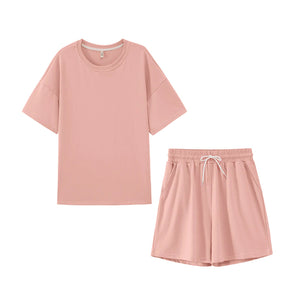 Oversized Cotton Tracksuits T-shirt High Waist Shorts