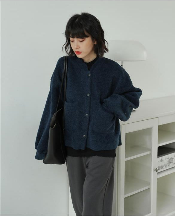 Solid Pockets Basic Casual Jacket