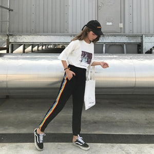 Rainbow Striped Casual Pants