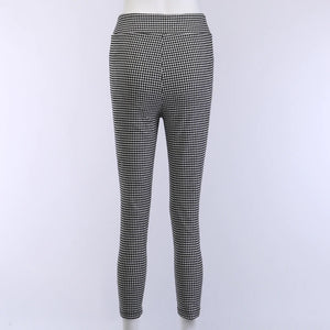 High Waist Grey Plaid Button Front Pencil Skinny Pants