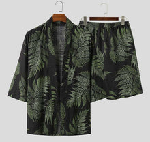 Load image into Gallery viewer, 3/4 Sleeve Open Stitch Cardigan Tops Chic Men's Shorts Hawaiian Set