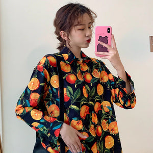 Orange Printed Long Sleeve Blouse Shirt