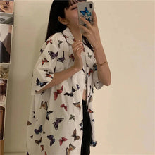 Load image into Gallery viewer, Vintage Butterfly Printed Short Sleeve Blouse Shirt