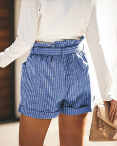 High Waist Striped Belted Mini Shorts