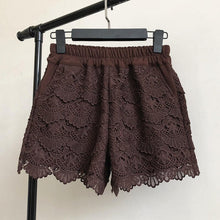 Load image into Gallery viewer, Elastic Waist Wide Leg Lace Shorts