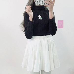 Cute High Collar Rabbit Embroidery Slim Sweater