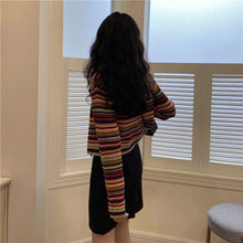 Load image into Gallery viewer, V-Neck Sweet Rainbow Striped Cardigan Sweater