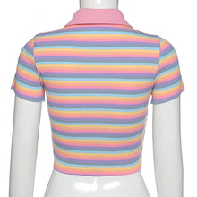 Load image into Gallery viewer, Sweet Rainbow Embroidery Zipper Front Striped Crop Tops
