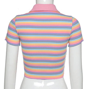 Sweet Rainbow Embroidery Zipper Front Striped Crop Tops