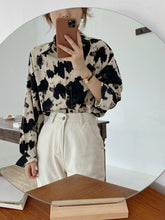Load image into Gallery viewer, Cow Pattern Casual Button Up Blouse Chiffon Shirt