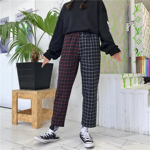 Vintage Plaid Patchwork Pants
