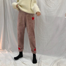 Load image into Gallery viewer, Heart Embroidery Velvet Skinny Pants