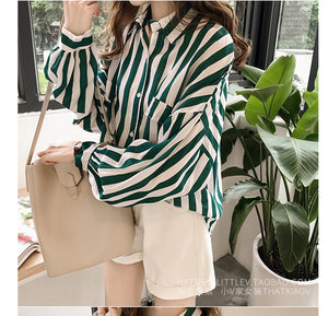 Elegant Loose Striped Long Sleeve Shirt