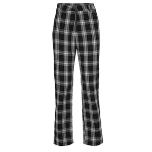 Vintage Black Plaid Casual Pants