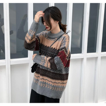 Load image into Gallery viewer, Retro Style Round Neck Sweater