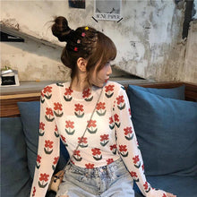Load image into Gallery viewer, Sexy Flowers Pattern Transparent Long Sleeve Shirt