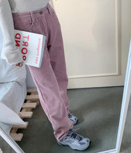 Load image into Gallery viewer, High Waist Solid Pink Straight Corduroy Pants