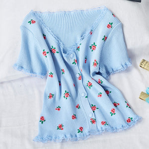 Flowers Knitted Thin Crop Tops