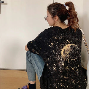 Moon Stars Planet Back Printed T-Shirt
