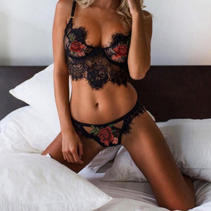 Flower Embroidery Women Lingerie Set