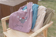 Load image into Gallery viewer, Flowers Embroidery Corduroy Tote Bag