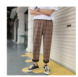 Men Casual Plaid Straight Pants