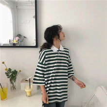 Load image into Gallery viewer, Short Sleeve Collar Striped Shirt