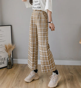 Vintage Plaid Pants Elastic Waist Women