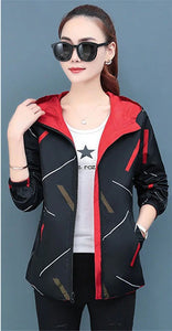 [Women] Women Jacket Hooded Two Side Cartoon Print