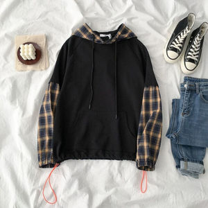 Plaid Patchwork Hooded Jacket