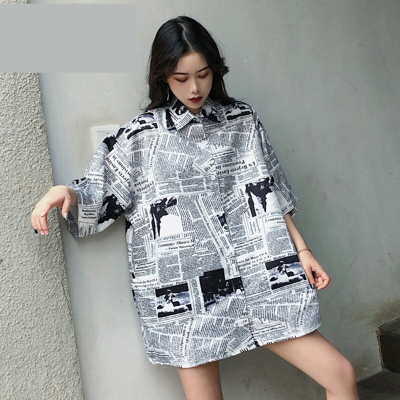 Newspaper Printed Casual Loose Blouse Shirt