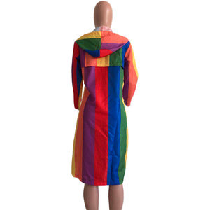 Rainbow Striped Hooded Coat Jacket