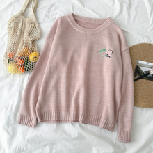 Load image into Gallery viewer, Fruit Embroidery Loose O-Neck Sweater