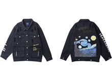 Load image into Gallery viewer, Vincent Van Gogh Starry Night Denim Jeans Jacket