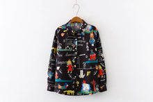 Load image into Gallery viewer, Cartoon Doodle Printed Blouse Long Sleeve Shirt