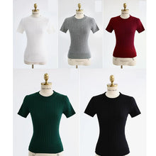 Load image into Gallery viewer, O-Neck Elastic Slim Knitted Shirt