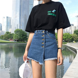Sexy Irregular Patchwork Jeans Skirt