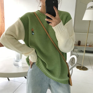 Flower Pot Pocket Embroidered Loose Sweater