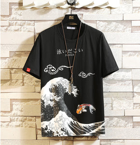 Men's Oversized Printed Anime Cotton T-shirt