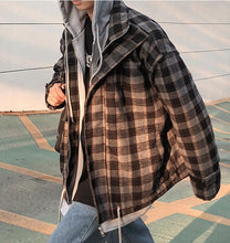 Load image into Gallery viewer, Wool Plaid Hooded Coat Jacket
